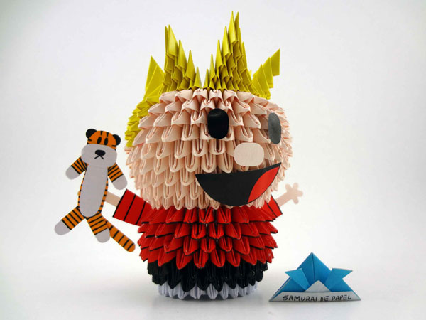 Origami 3D Calvin and Hobbes